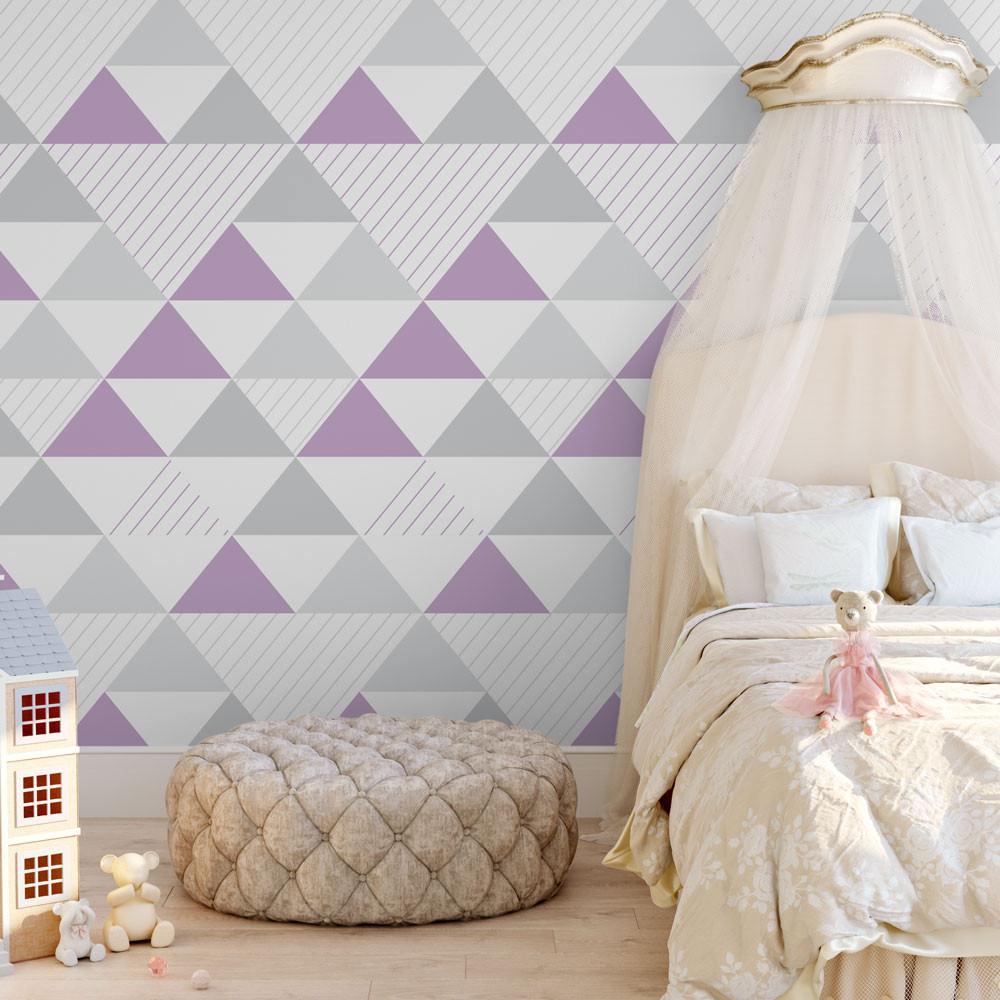 Papel de Parede Infantil Triângulos (Tons de Cinza e Lilás- Padrão Grande)