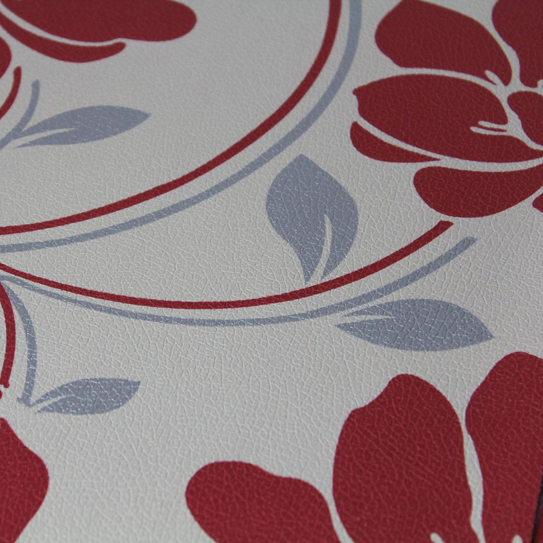 Papel de Parede Muresco Corium Floral Grande Vermelho e Prata Texturizado