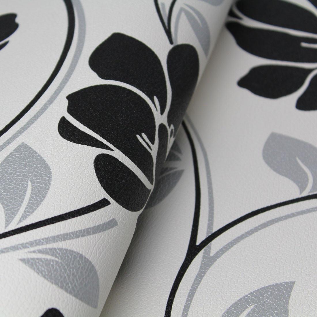 Papel de Parede Muresco Corium Floral Grande Preto e Prata