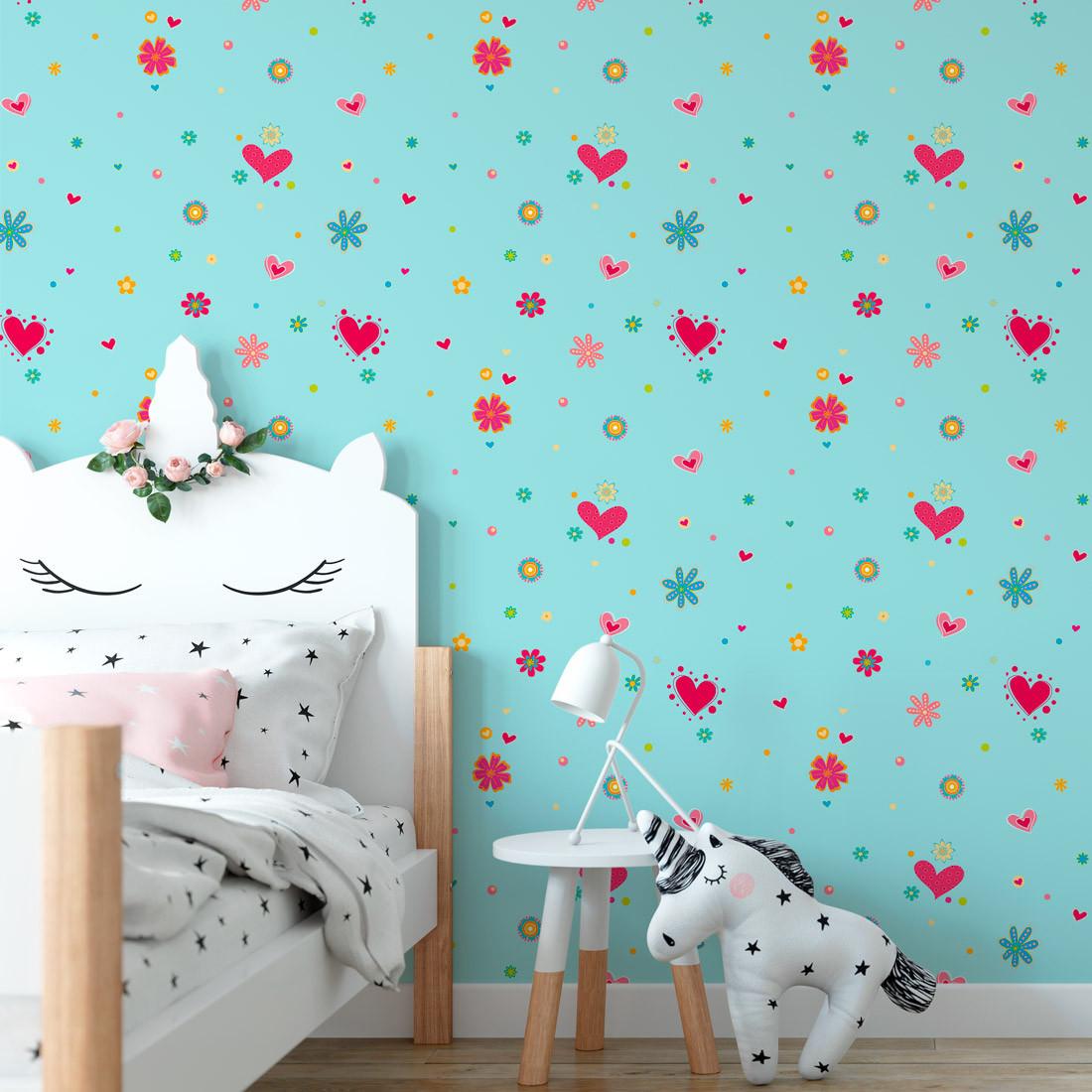 Papel de Parede Infantil Flores e Corações Azul - Has#Tag