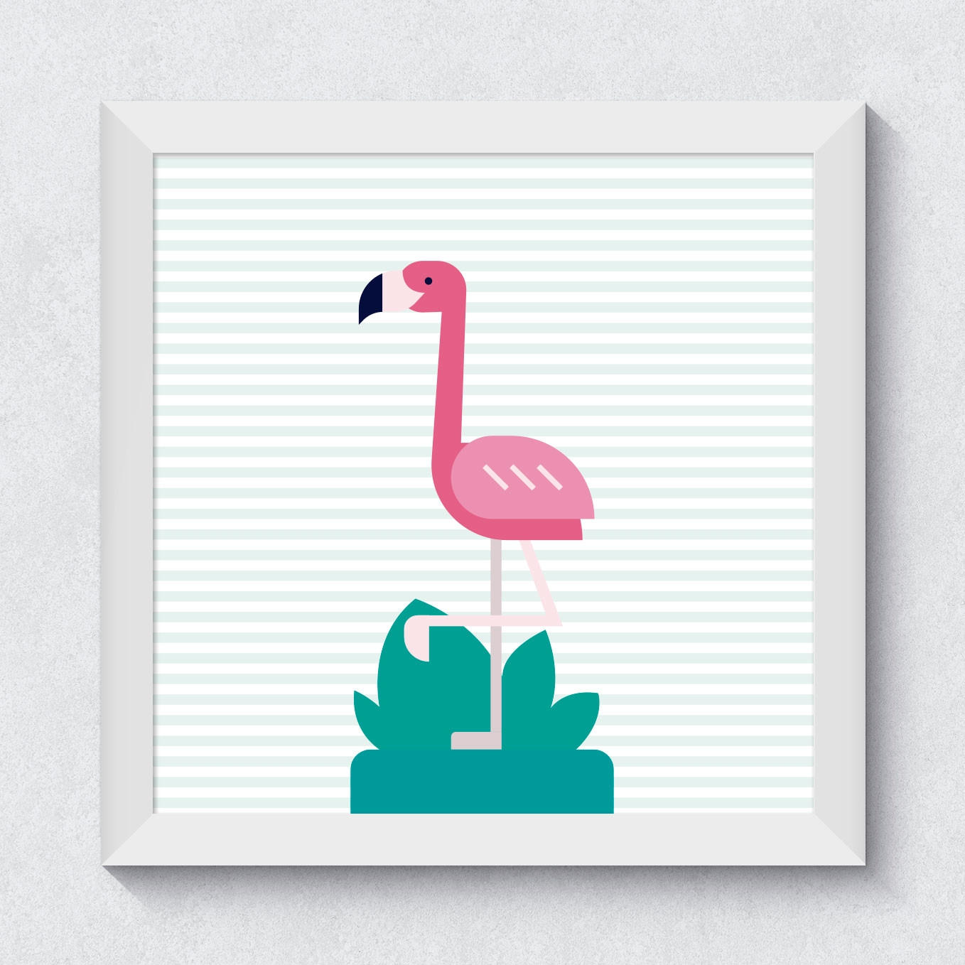 Quadrinho Decorativo Flamingo com Listras Tropical