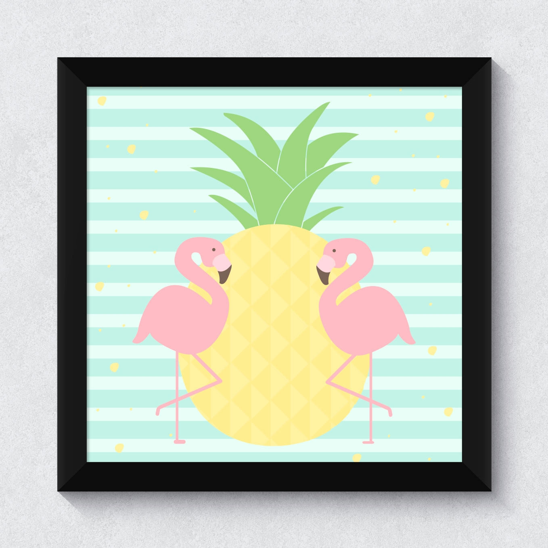 Quadrinho Decorativo Infantil Abacaxi e Flamingos