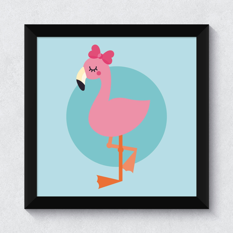 Quadrinho Decorativo Flamingo Menina