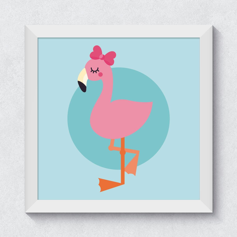 Quadrinho Decorativo Infantil Flamingo Menina