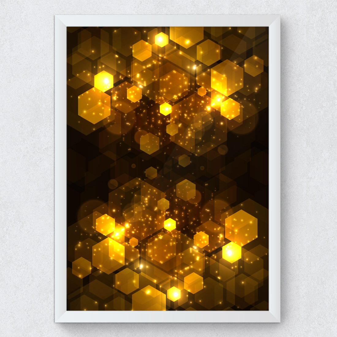 Quadro Decorativo Abstrato Geométrico Dourado