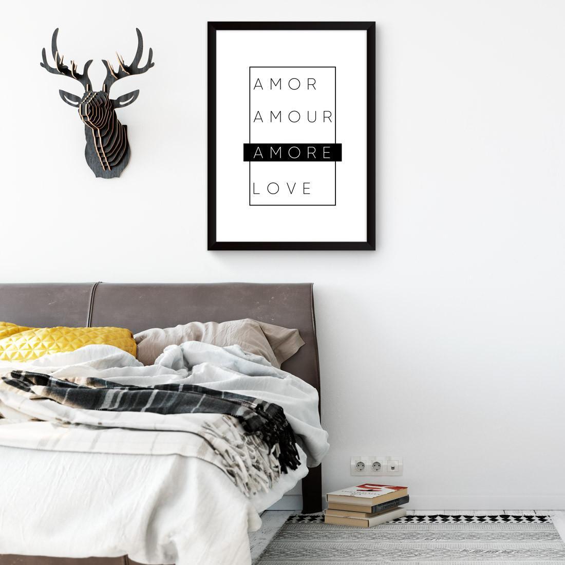 Quadro Decorativo Amore Preto e Branco