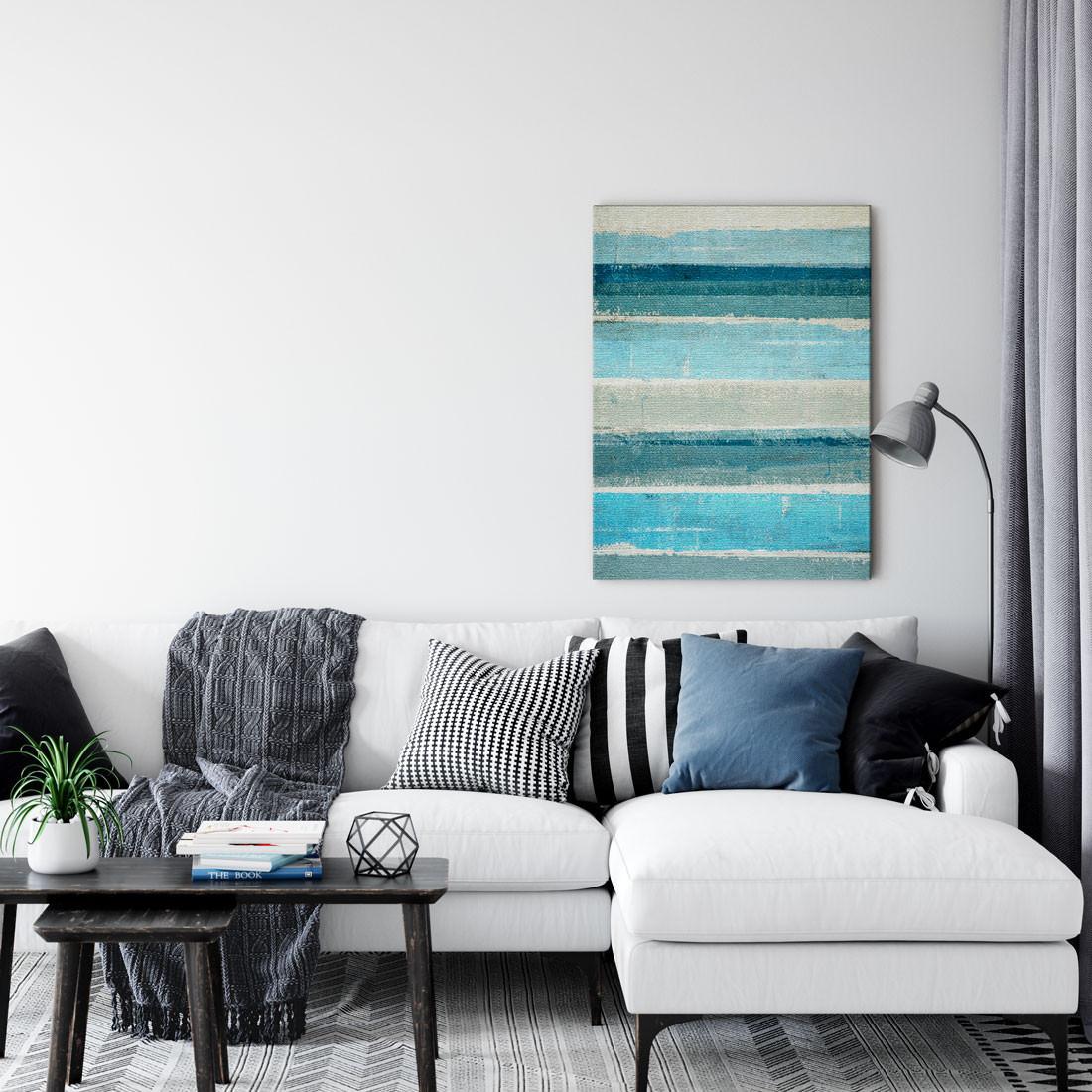 Quadro Decorativo Arte Moderna Listras Azuis