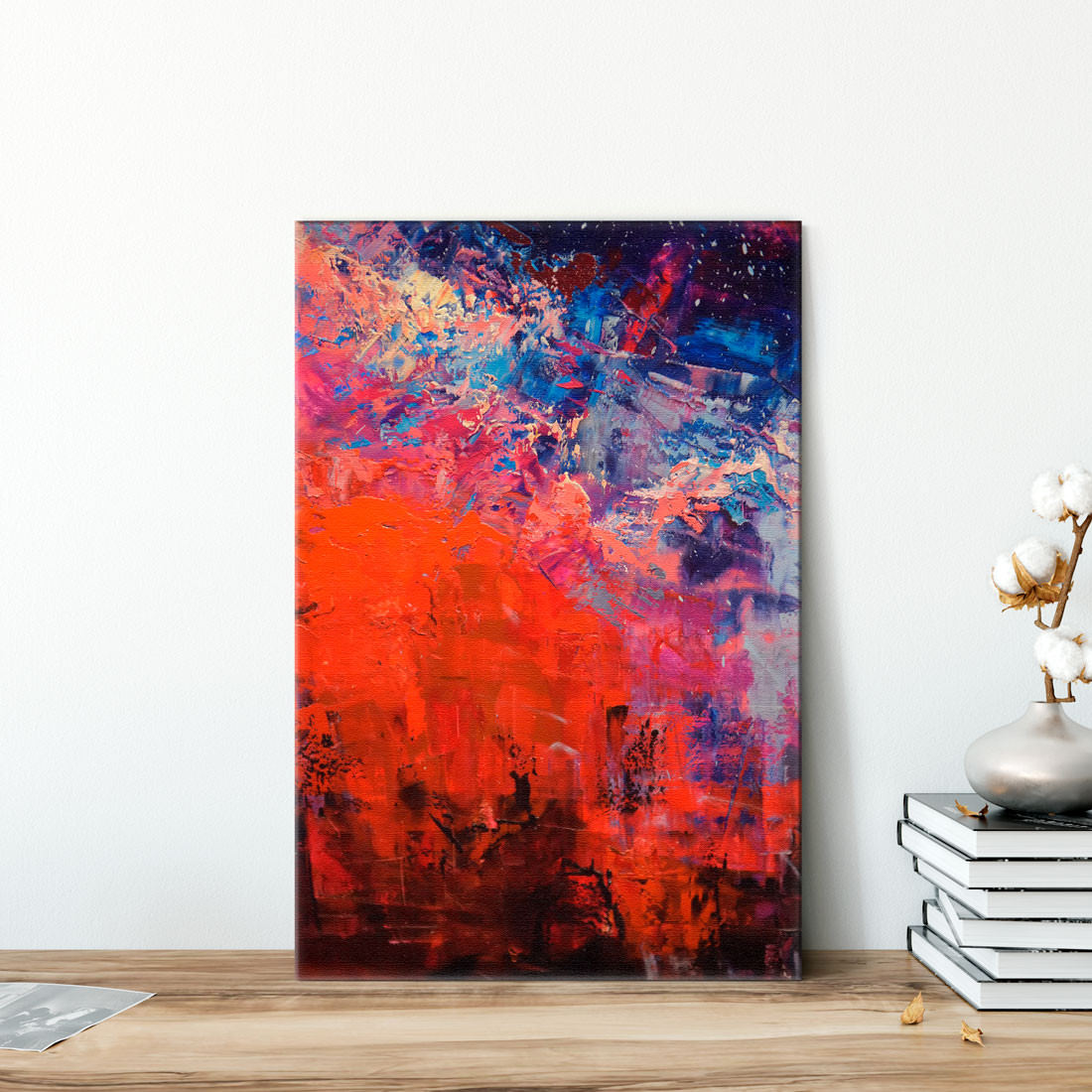 Quadro Decorativo Pintura Óleo Sobre Tela Vermelho Azul