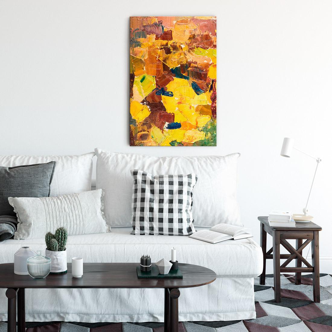 Quadro Decorativo Pintura Abstrata Tons de Amarelo e Marrom