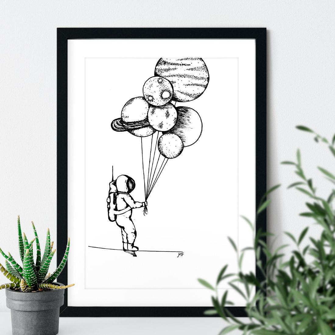 Quadro Decorativo Astronauta Planetas Balões