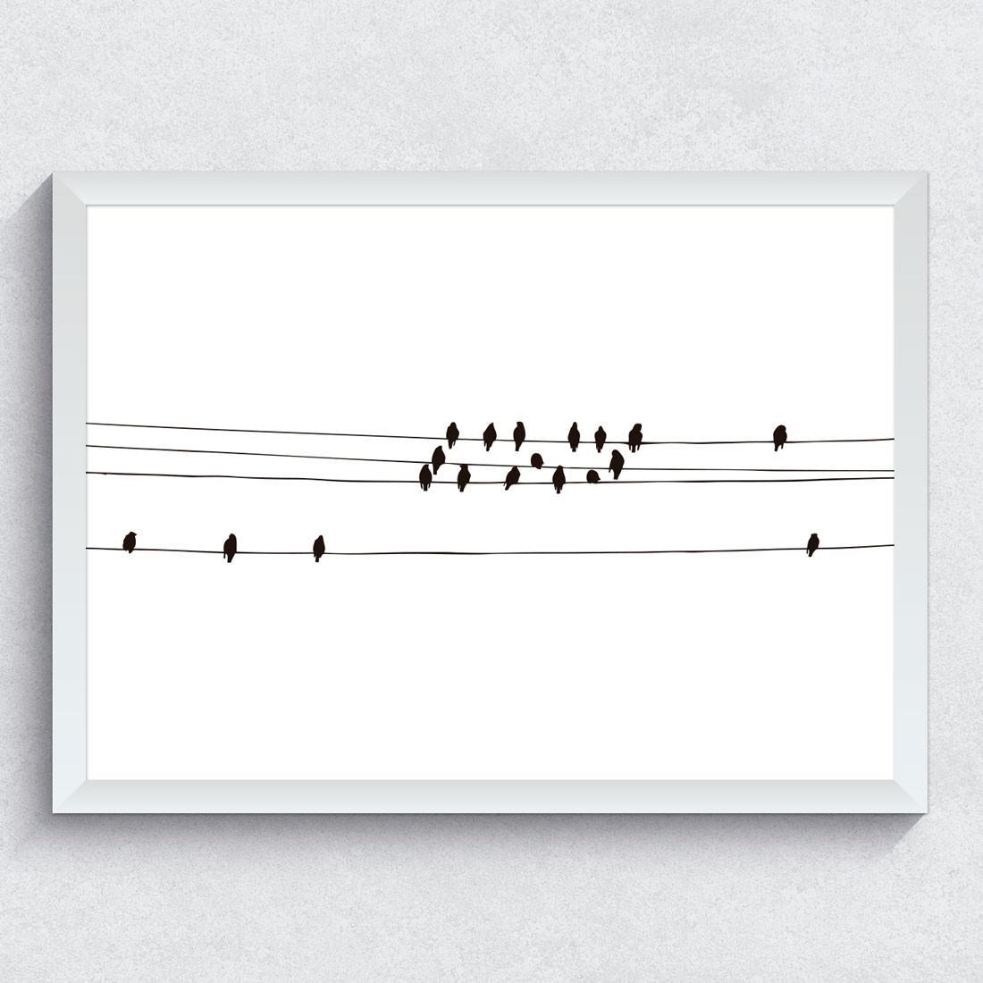 Quadro Decorativo Bando de Pássaros Preto e Branco