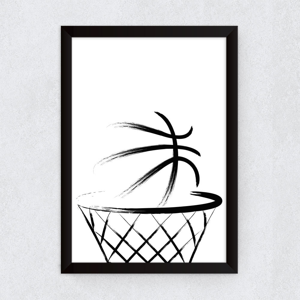Quadro Decorativo Bola na Cesta Basketball