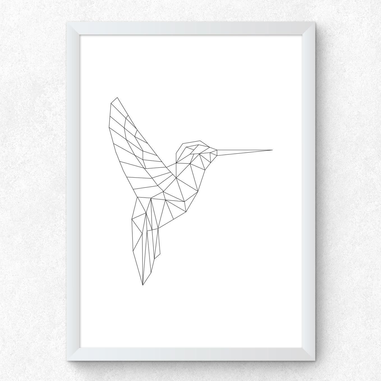 Quadro Decorativo Pássaro Beija Flor Minimalista