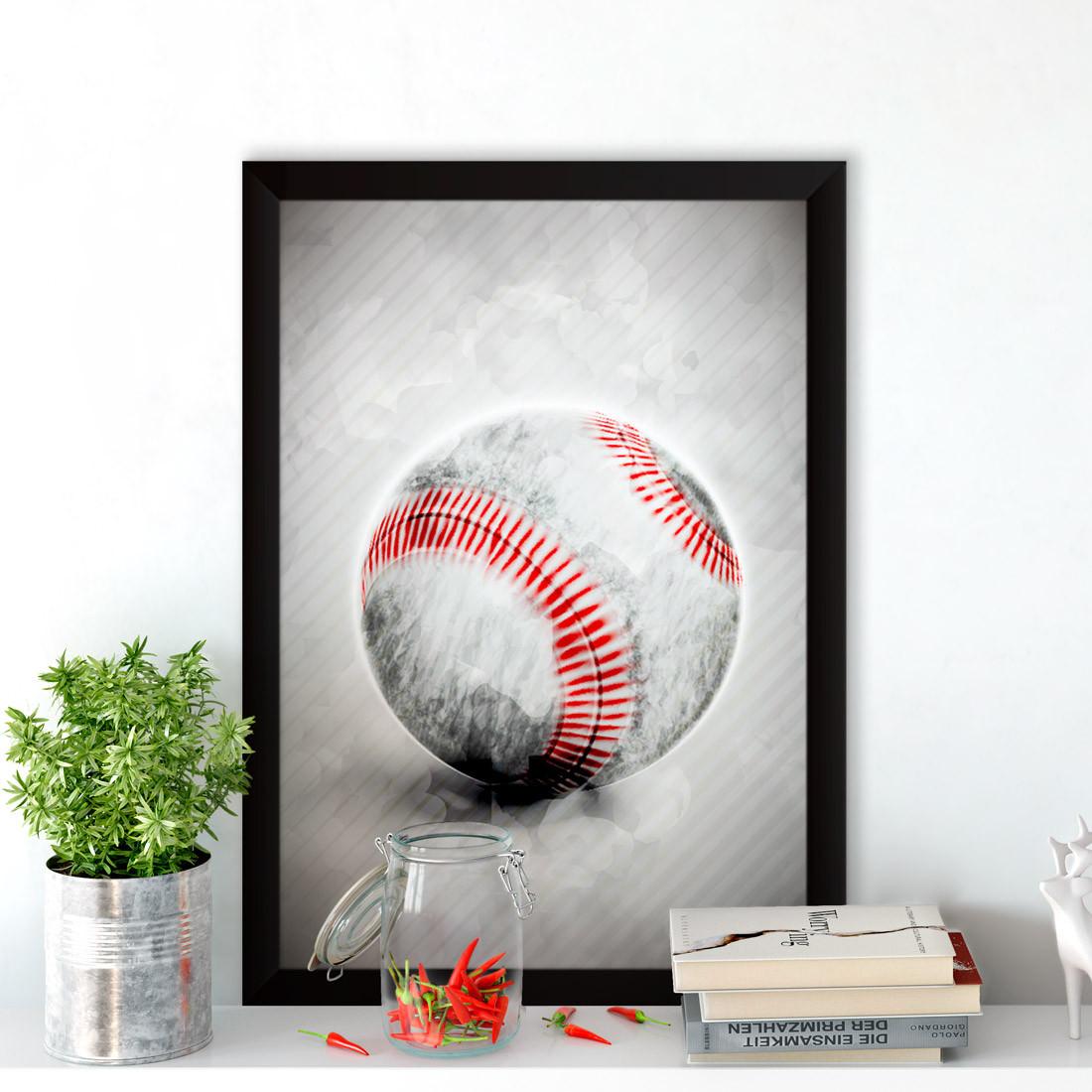 Quadro Decorativo Bola de Beisebol Aquarela