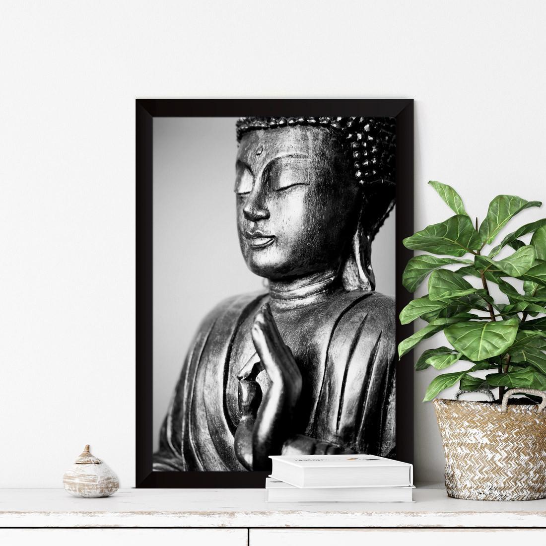 Quadro Decorativo Buddha Preto e Branco Vitarka Mudra