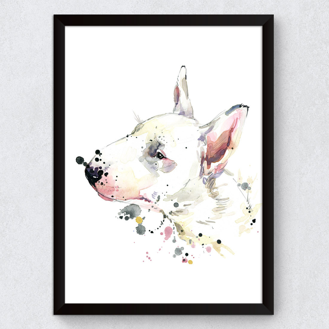 Quadro Decorativo cao Bull Terrier Aquarela