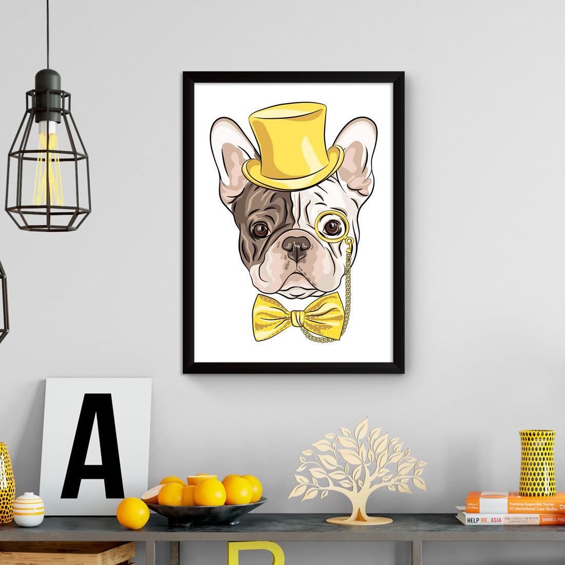 Quadro Decorativo Bulldog Hipster Cartola Monócolo