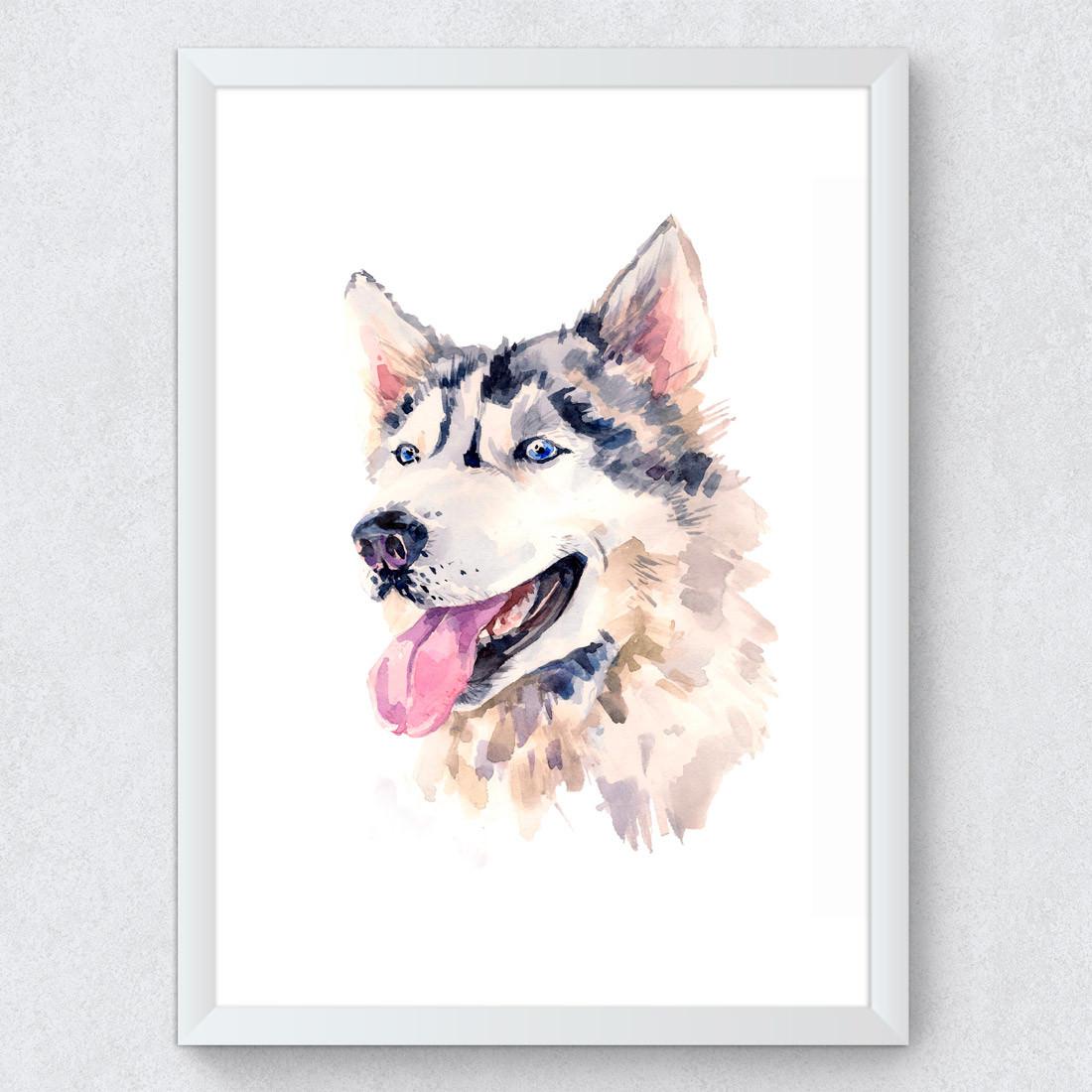 Quadro Decorativo Husky Siberiano Aquarela cachorro