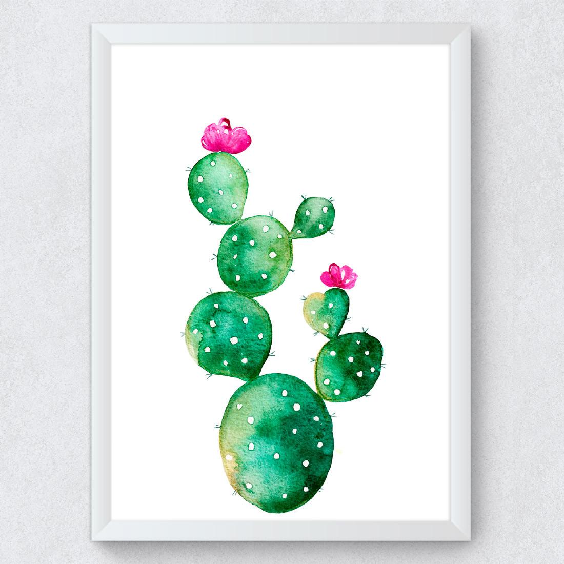 Quadro Decorativo Cacto Palma com flor