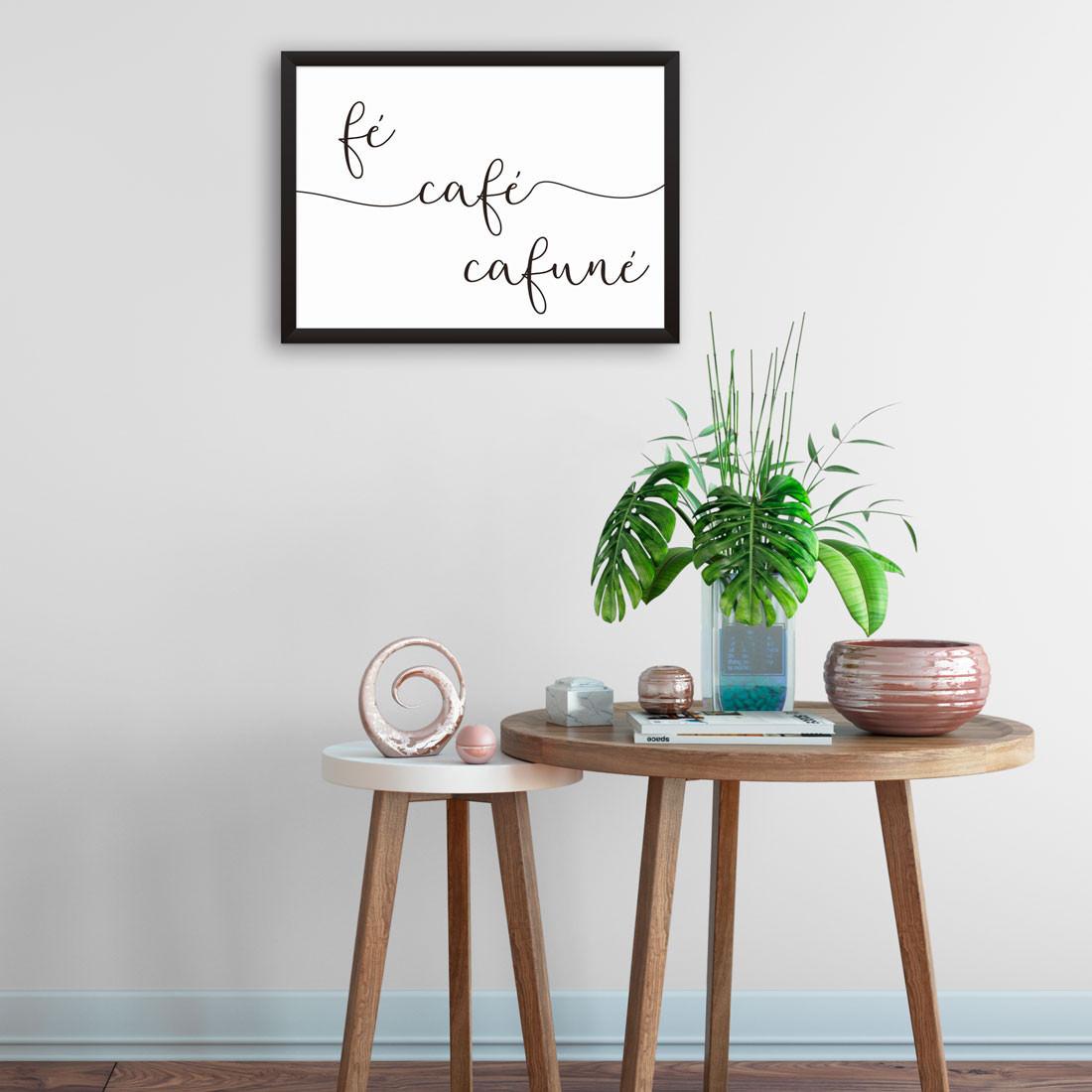 Quadro Fé, Café e Cafuné Caligrafia
