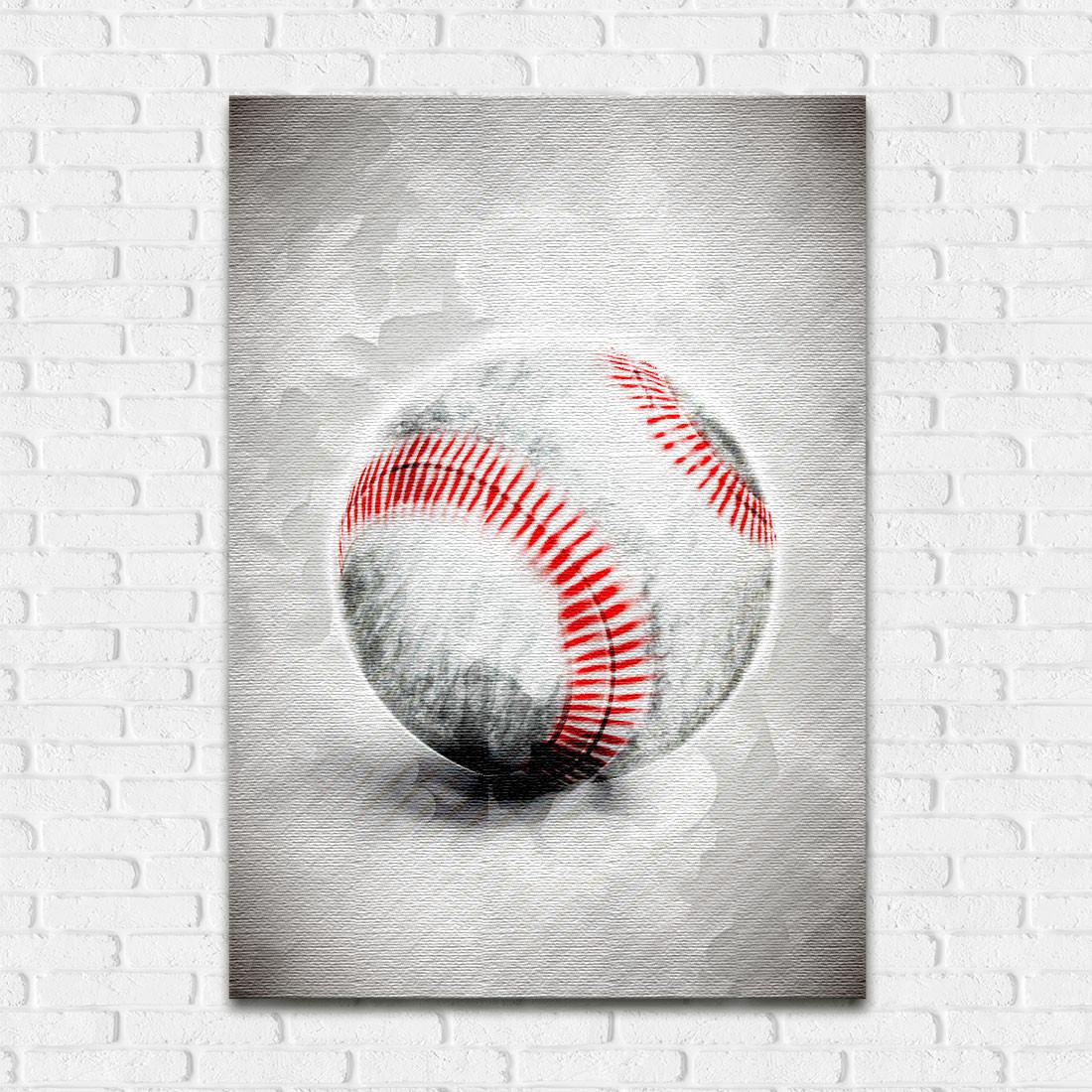 Quadro Decorativo Bola Beisebol Aquarela
