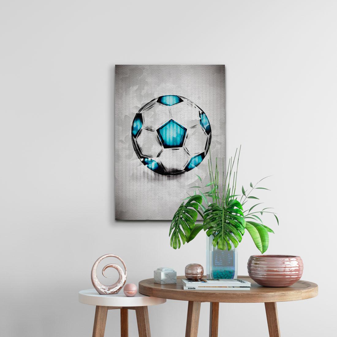 Quadro Decorativo Bola de Futebol Aquarela