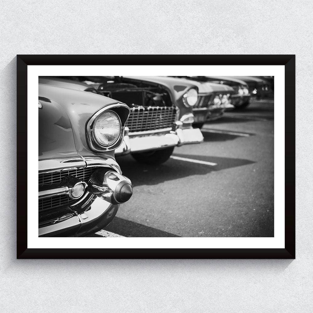 Quadro Decorativo Carros Antigos (Preto e Branco)