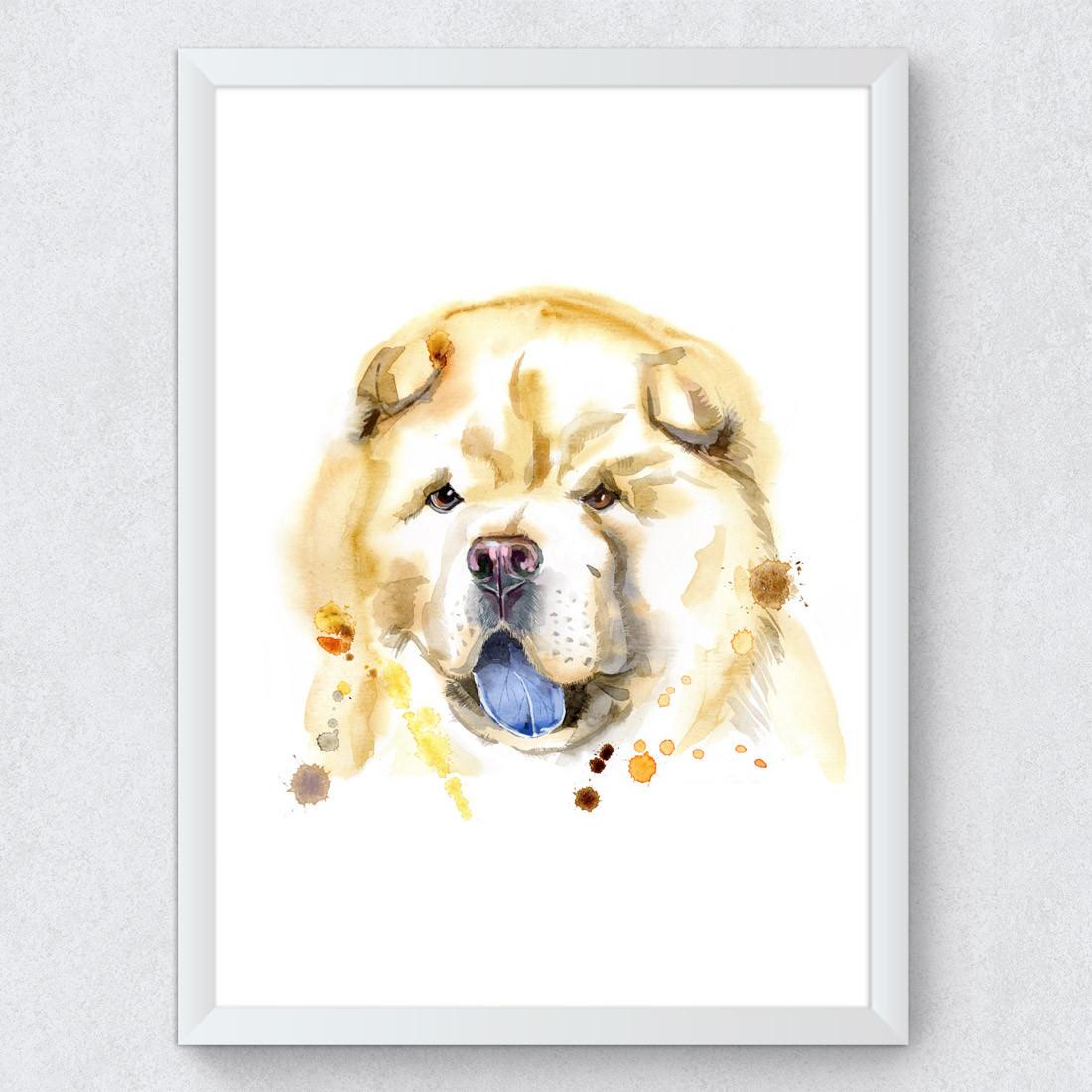Quadro Decorativo Cachorro Chow-Chow Aquarela