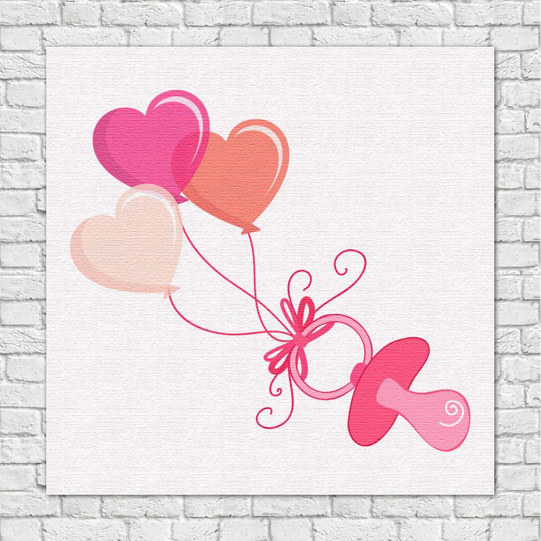 Quadro Decorativo Infantil Chupeta e Balões