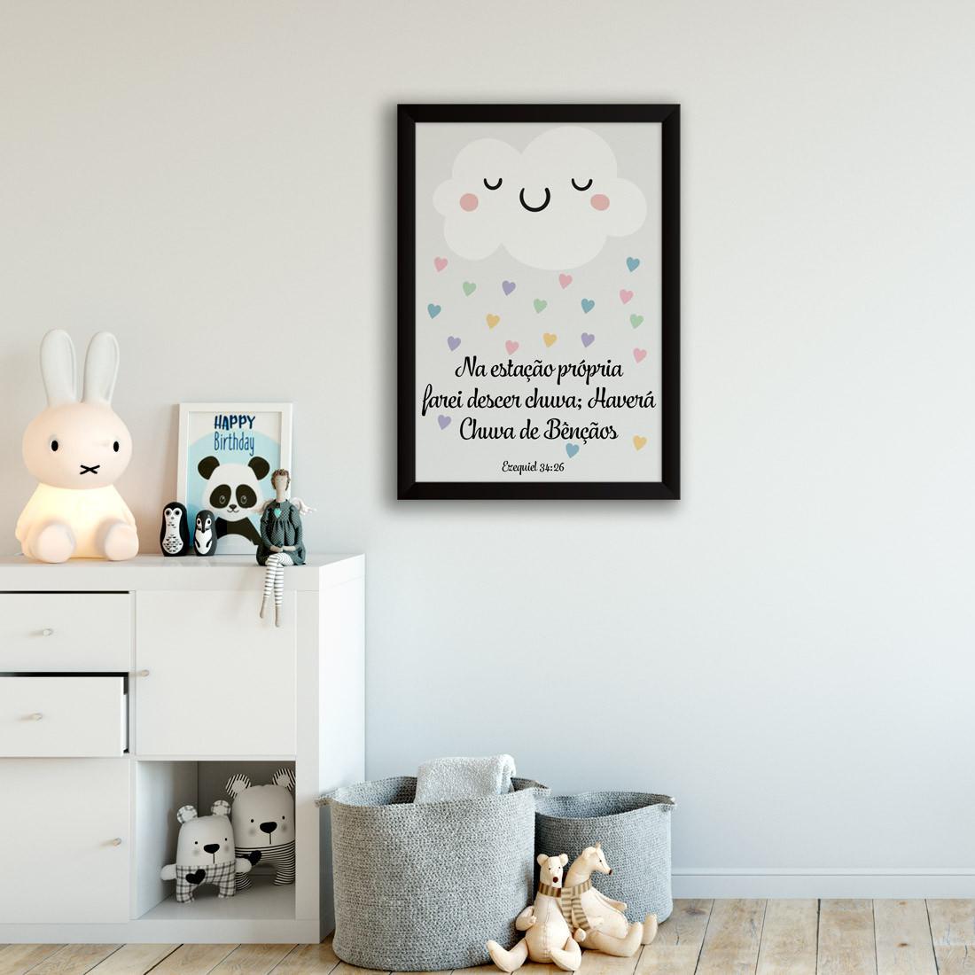 Quadro Decorativo Infantil Chuva de Bençãos
