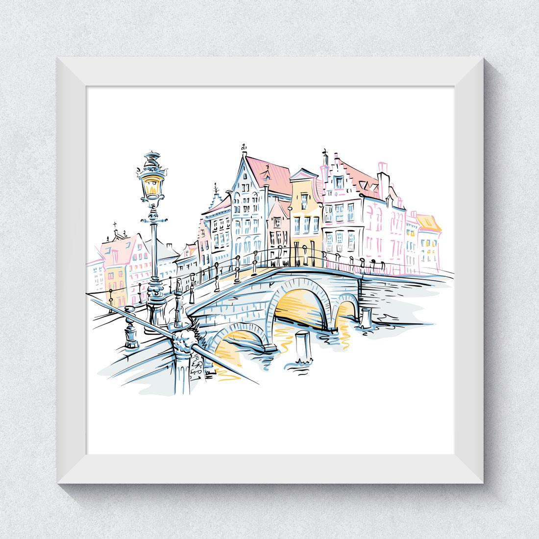 Quadrinho Decorativo Cidade Bruges Bélgica