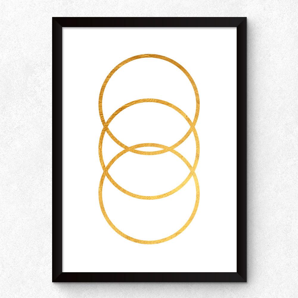 Quadro Decorativo Círculos Dourados