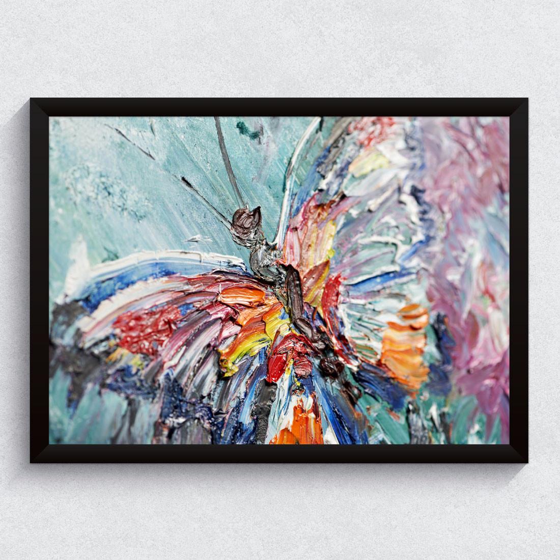 Quadro Decorativo Fotografia Borboleta em Tinta