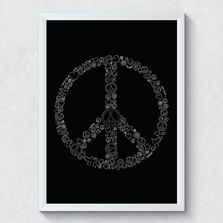 Quadro Decorativo Símbolo da Paz Moldura Branca
