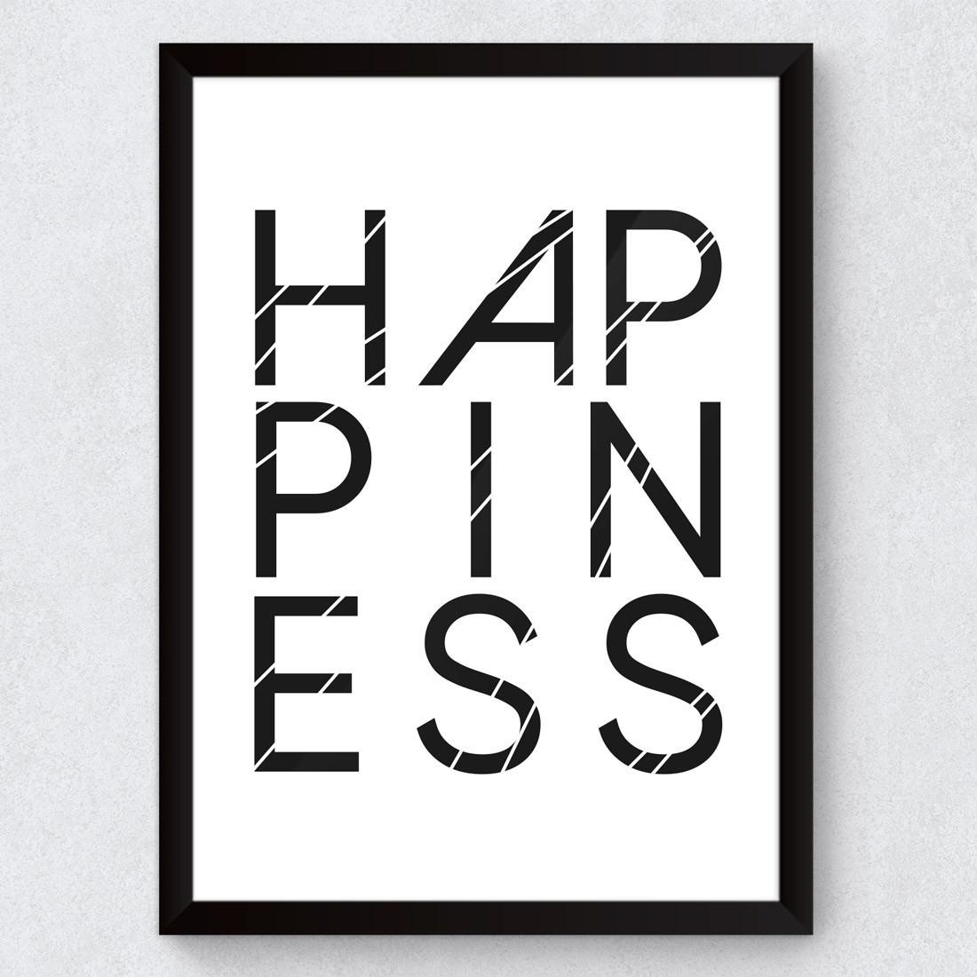 Quadro Decorativo Felicidade Happiness