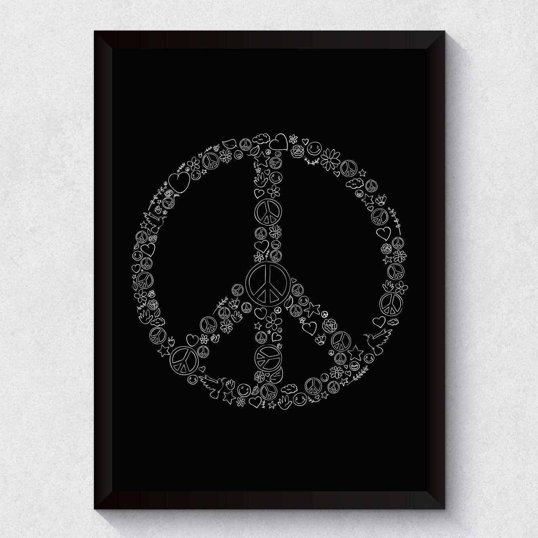 Quadro Decorativo Símbolo da Paz Moldura Preta