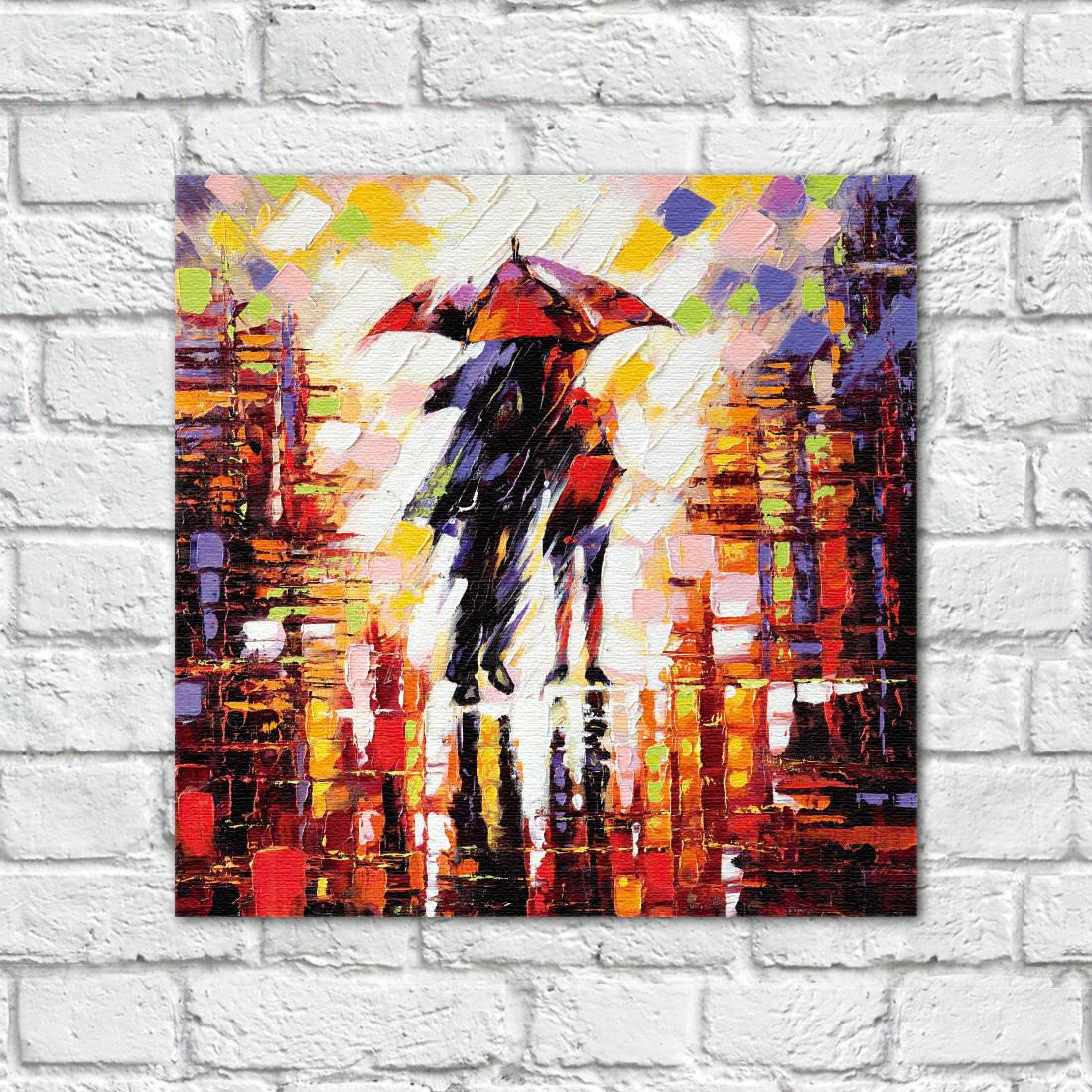 Quadro Decorativos Companheiros na chuva - Em Canvas