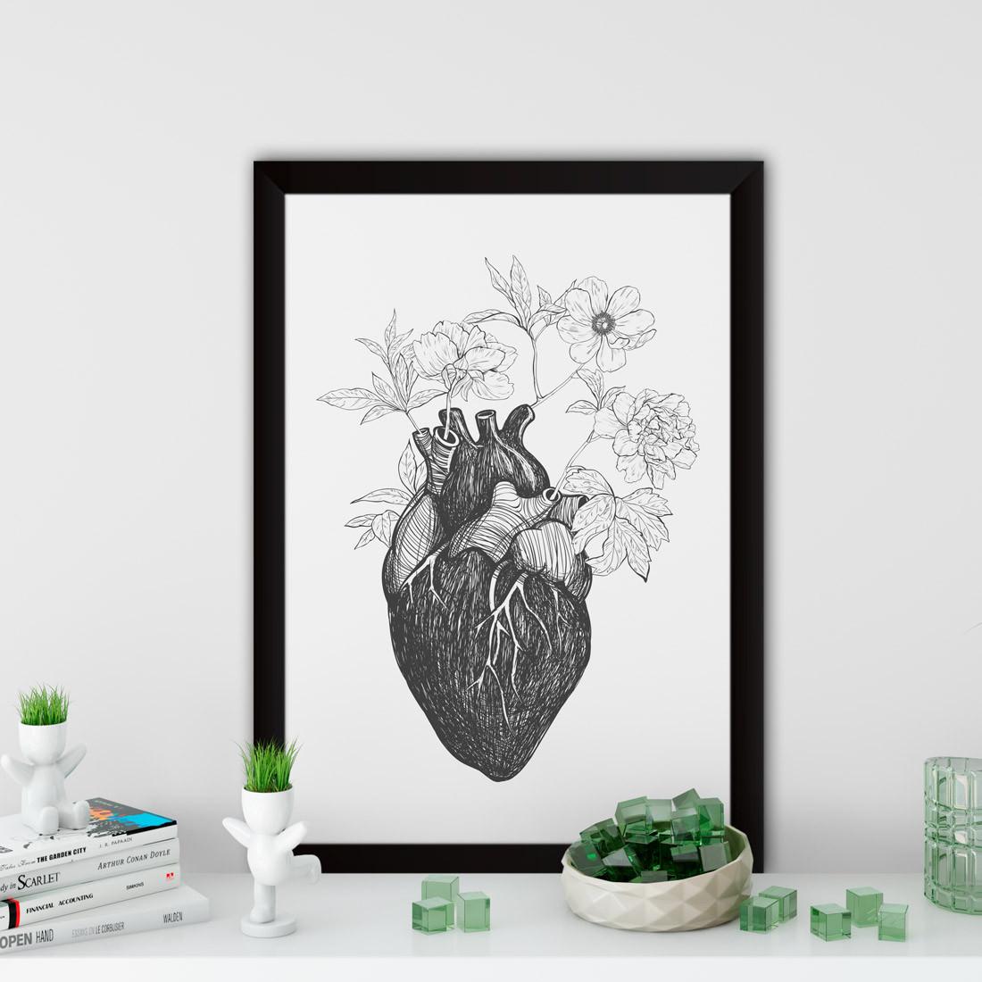 Quadro Decorativo Coração Brotando flores