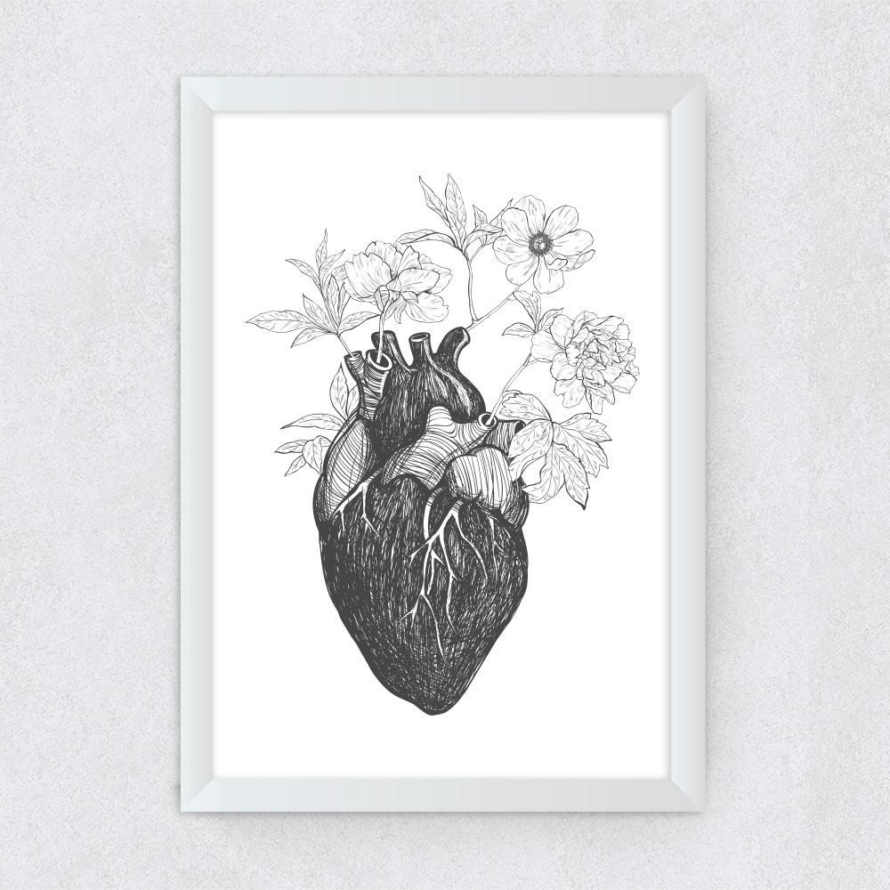 Quadro Decorativo Coração Floral