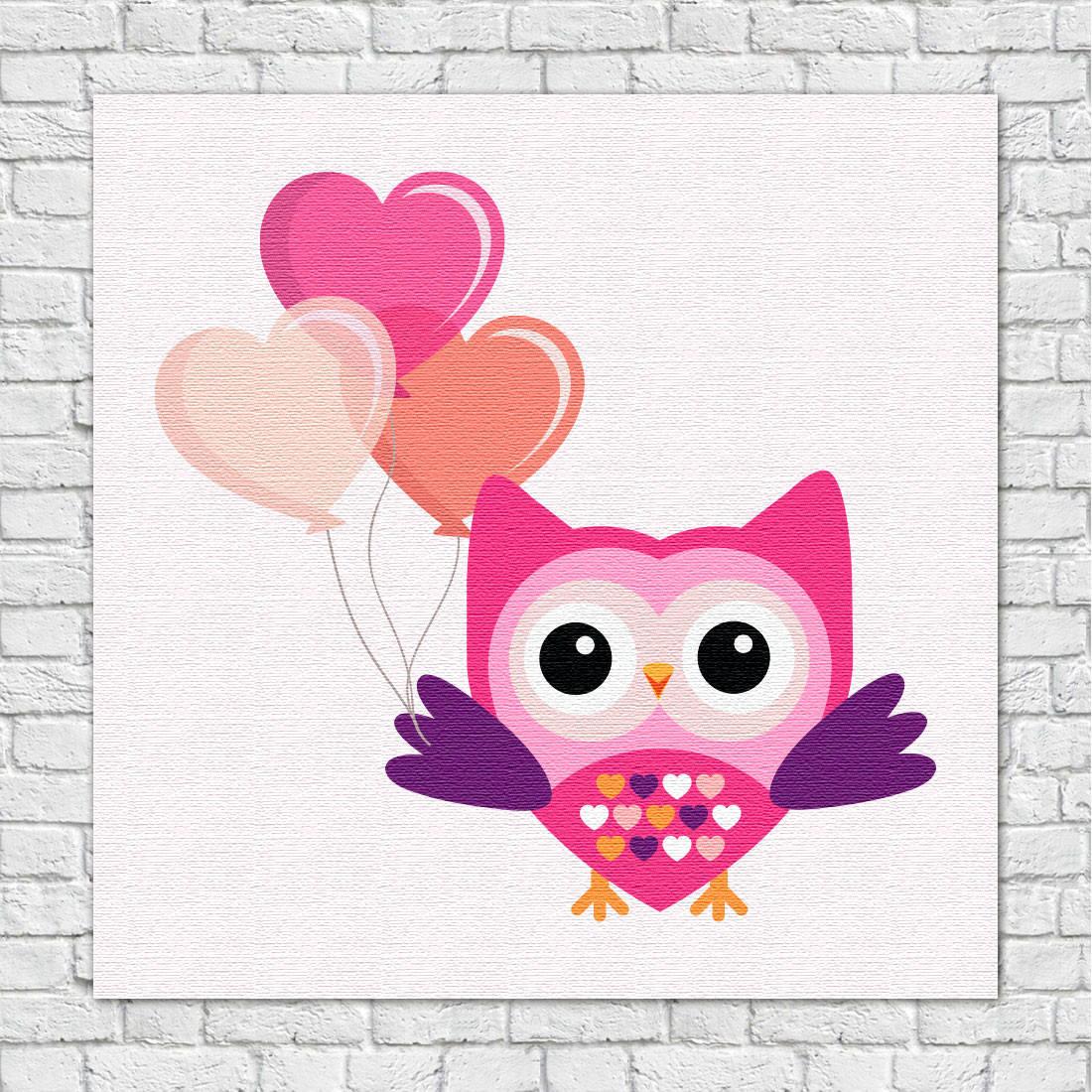 Quadro Decorativo Infantil Coruja e Balões Rosa