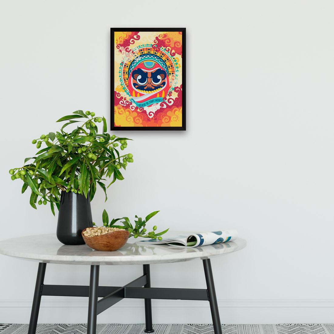Quadro Decorativo Daruma - Boneco da Sorte