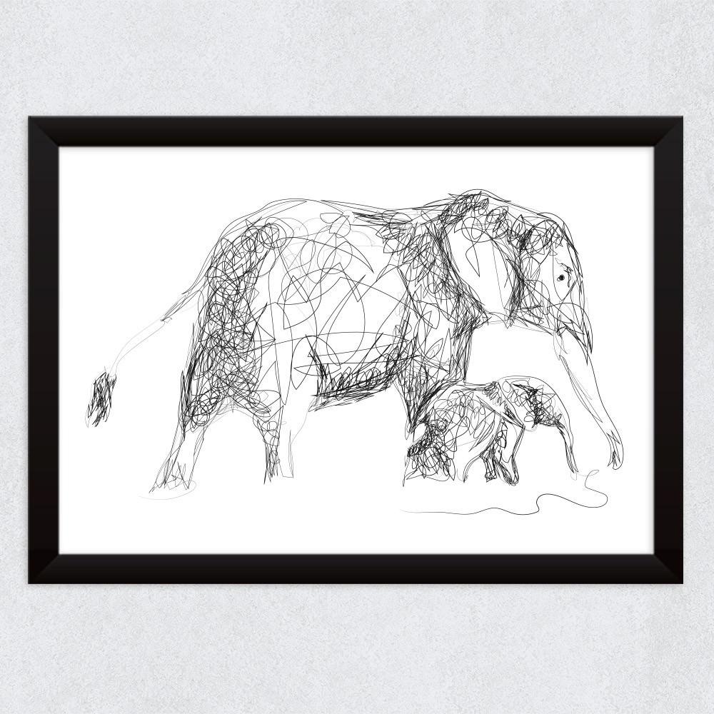 Quadro Decorativo Rascunho Elefantes