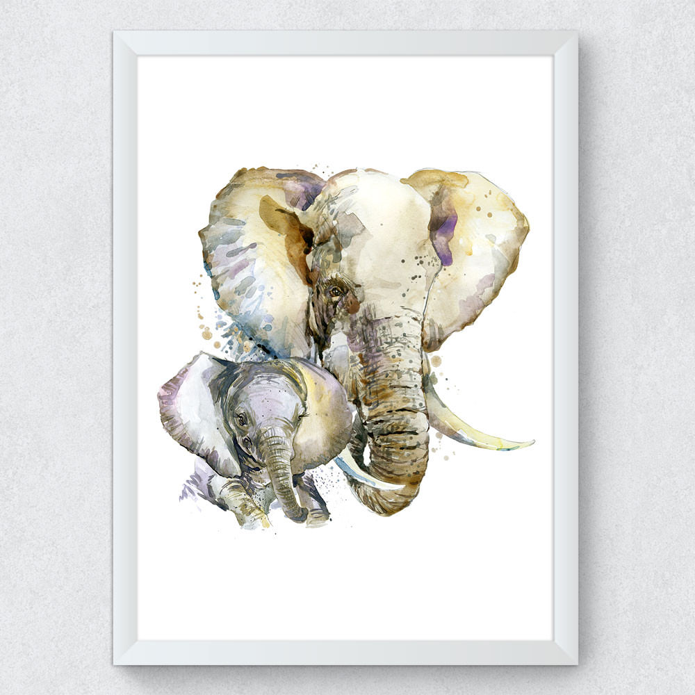 Quadro Decorativo Elefantes Aquarela