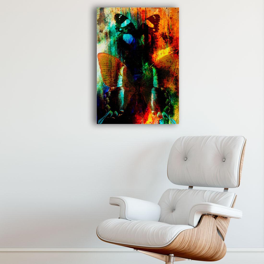 Quadro Decorativo Abstração Borboletas Colorido