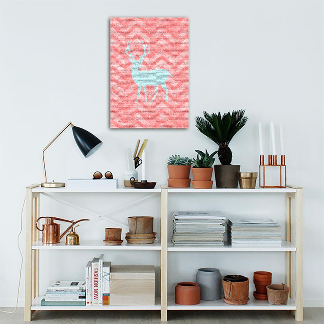 Quadro Decorativo Cervo Fundo Abstrato Rosa ( Em Canvas )