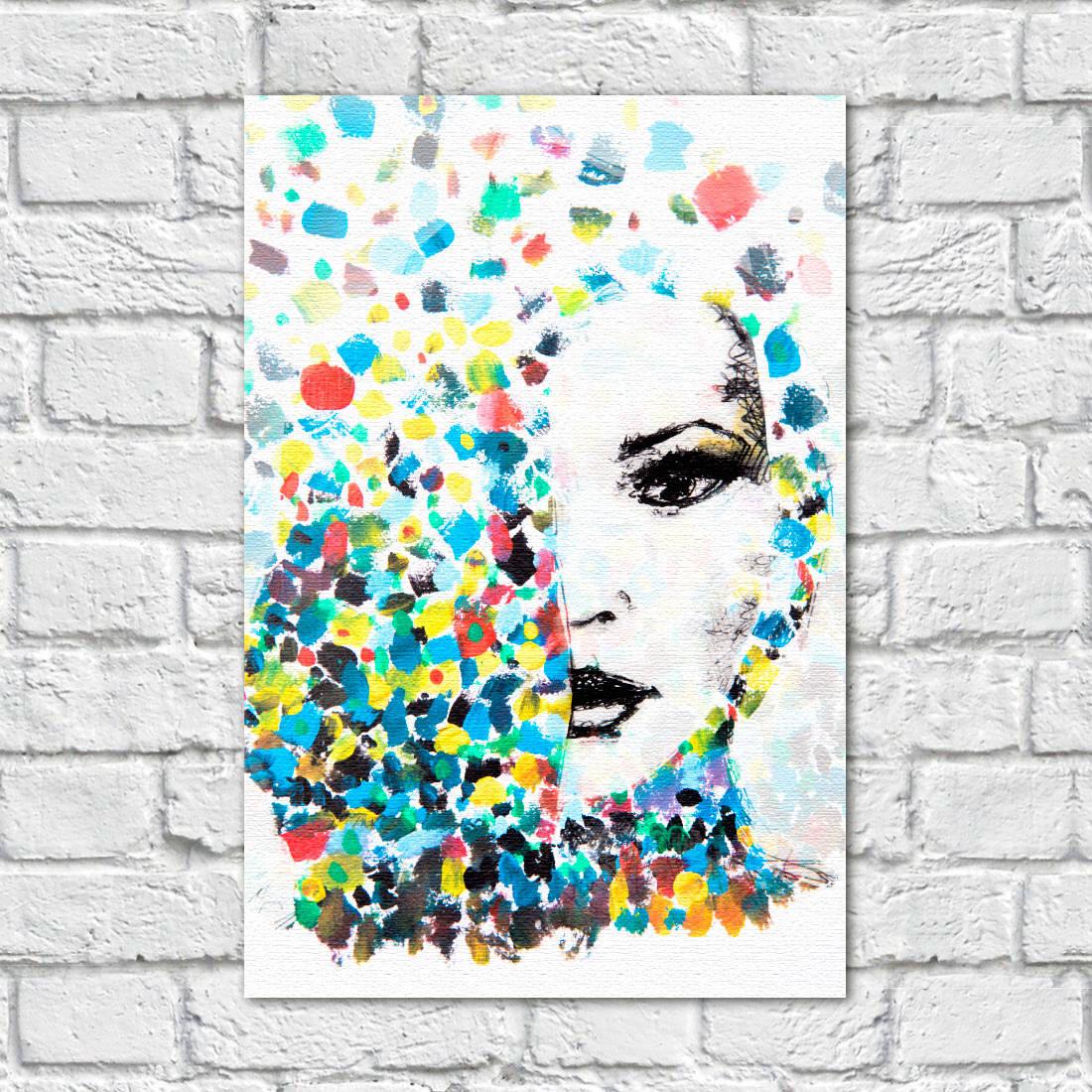 Quadro Decorativo Mulher Cabelo colorido Aquarela - Em Canvas