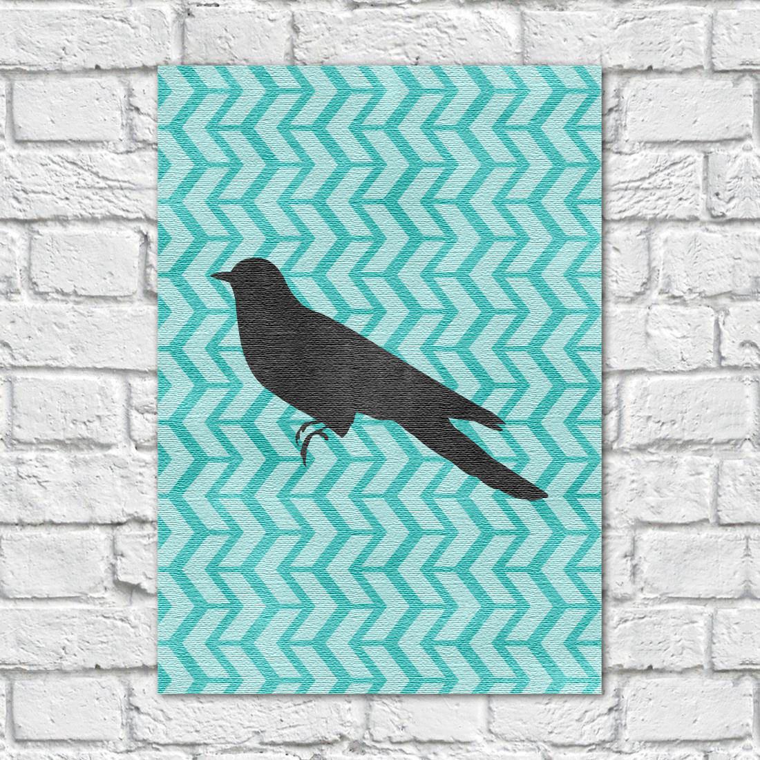 Quadro Decorativo Pássaro Fundo Abstrato Azul