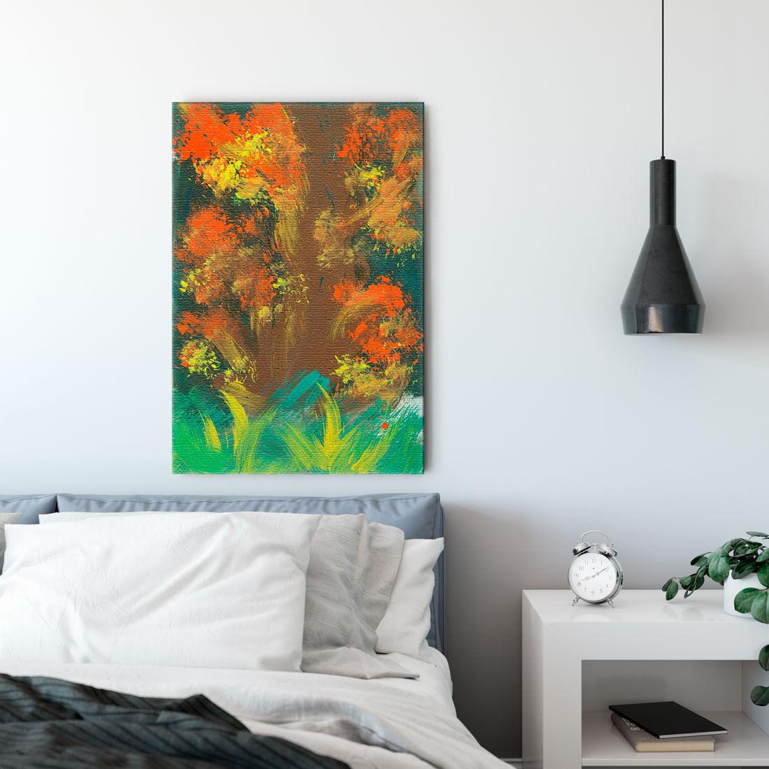 Quadro Decorativo Pintura Abstrata Árvore Outono