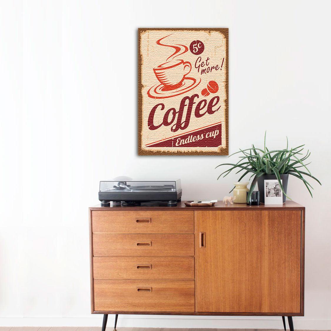 Quadro Decorativo Vintage Coffee Em Canvas