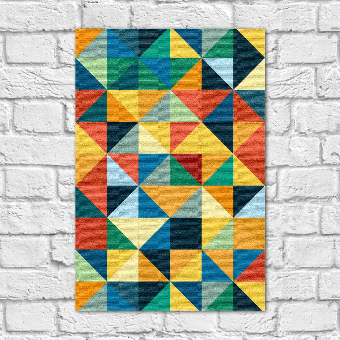 Quadro Decorativo Abstrato Colorido Em Canvas
